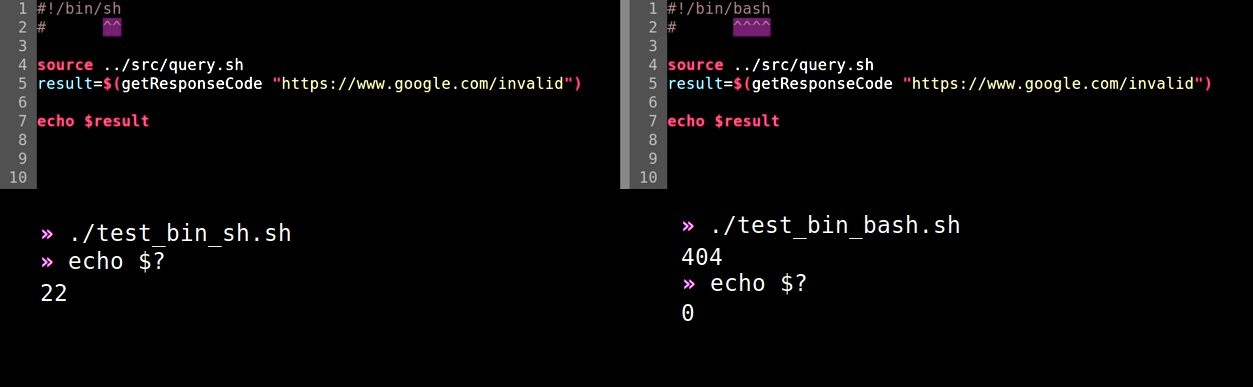 side by side comparision showing the difference between #!/bin/bash and #!/bin/sh