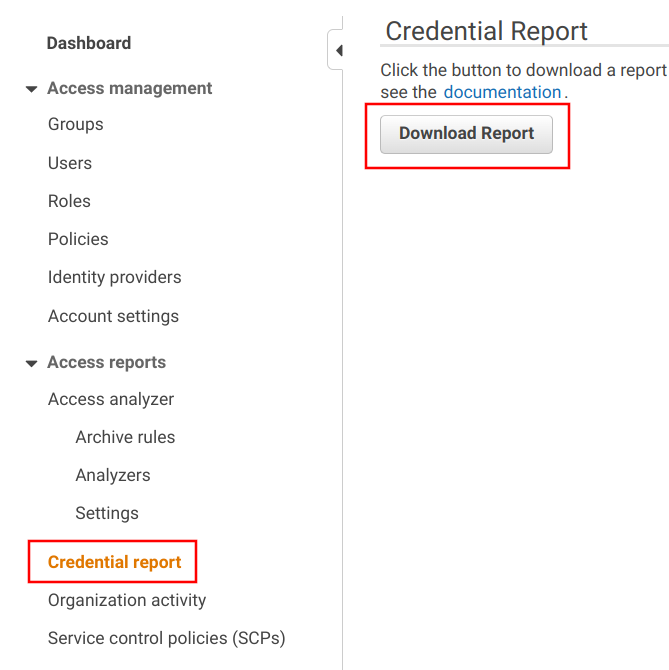 Credential report download link