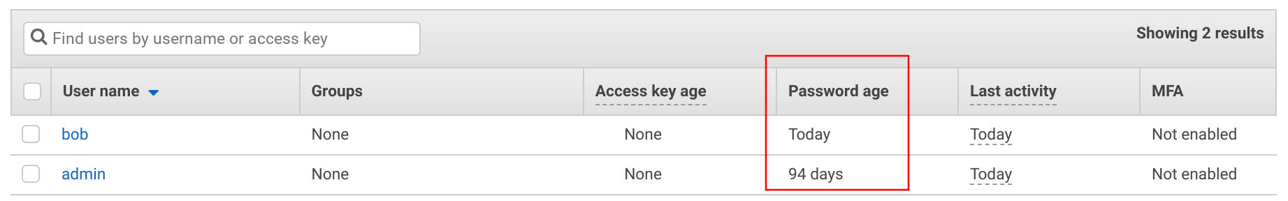 Password age on the IAM Users page