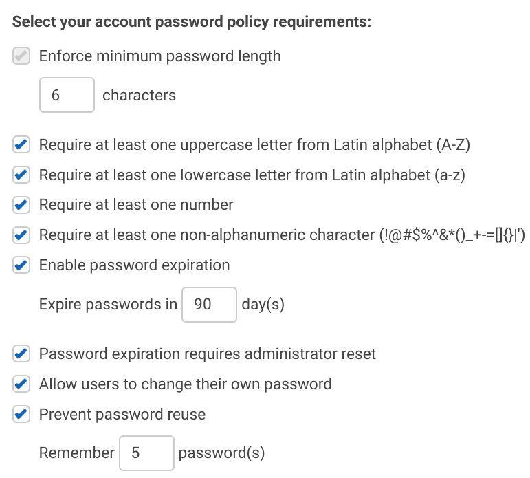Password policy elements