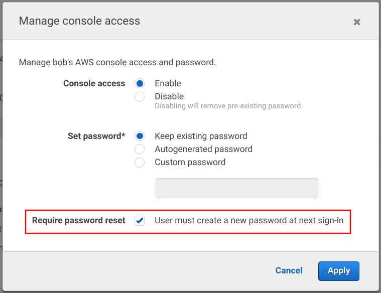 Require password reset box for an IAM user