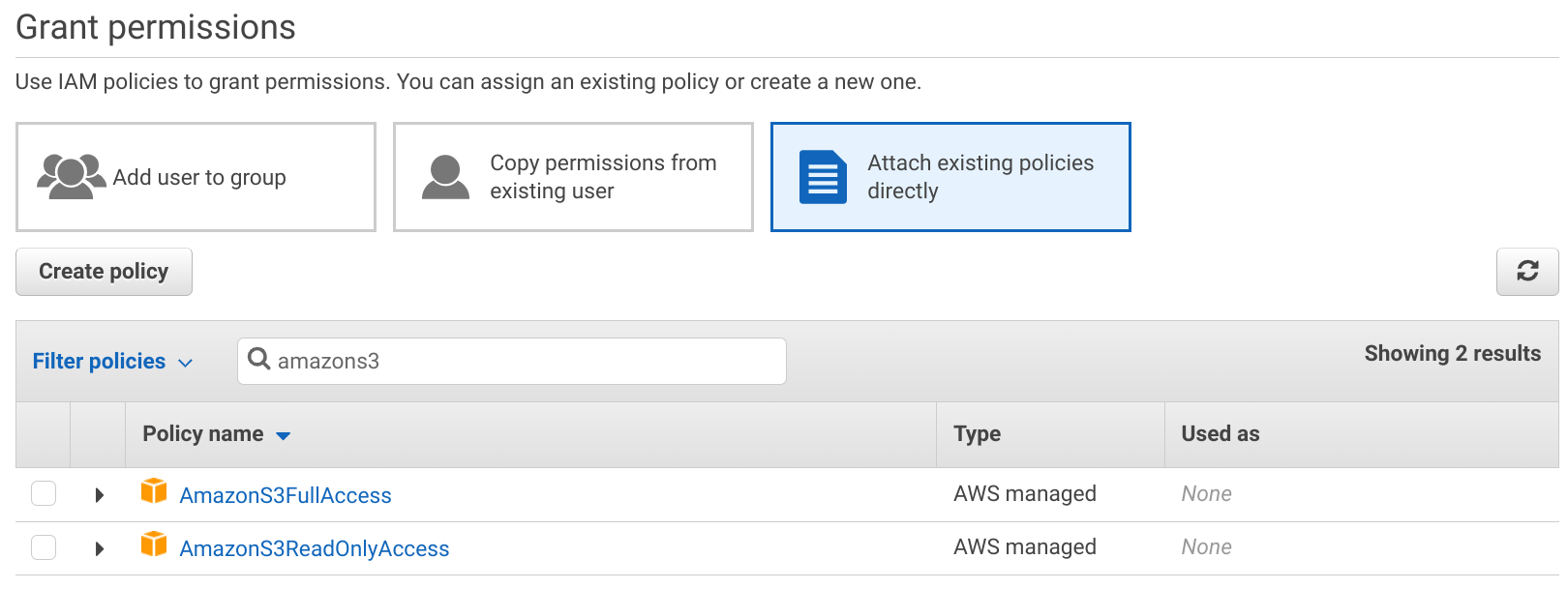 Attach managed policies to a user