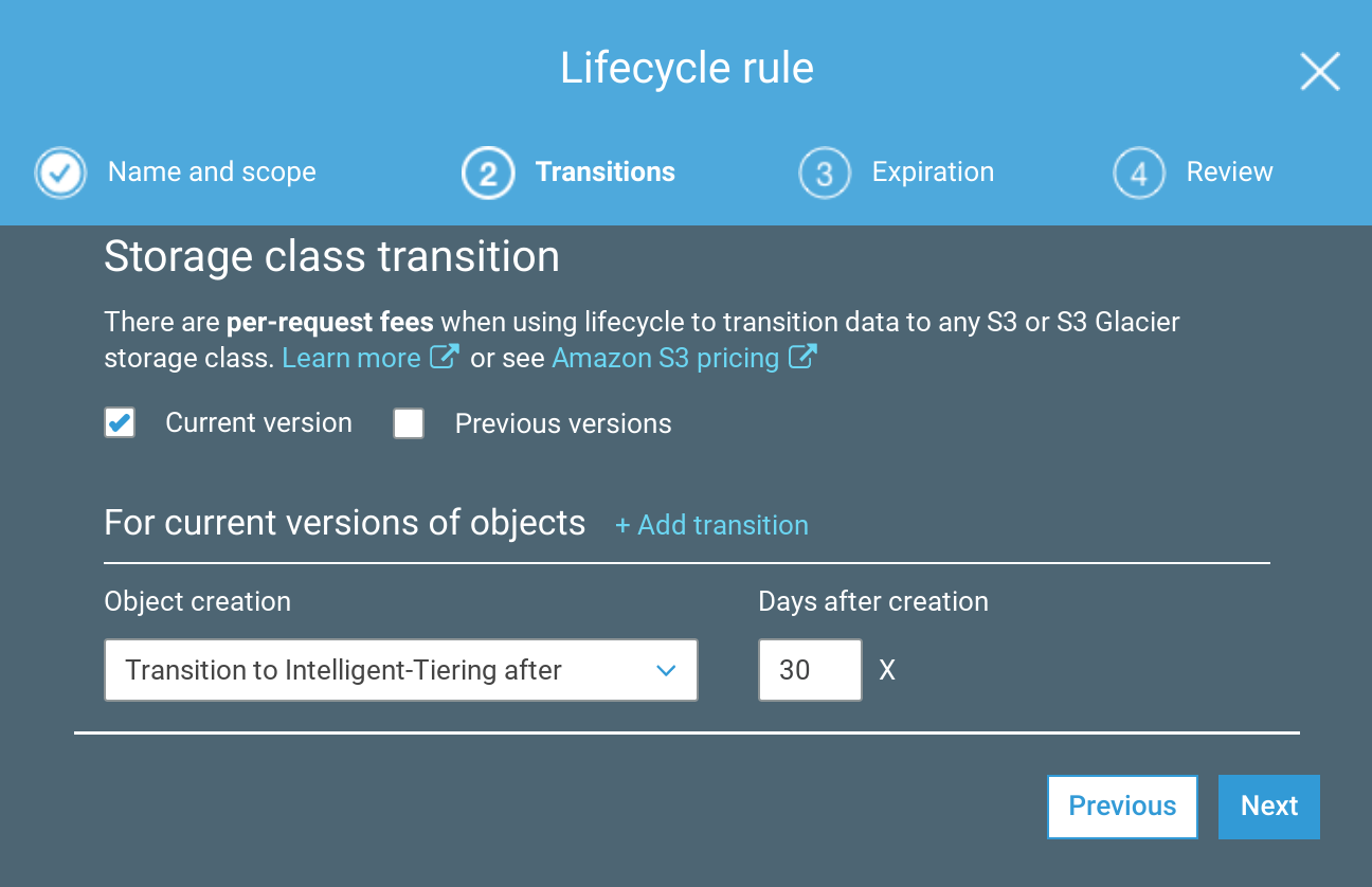 S3 lifecycle configuration