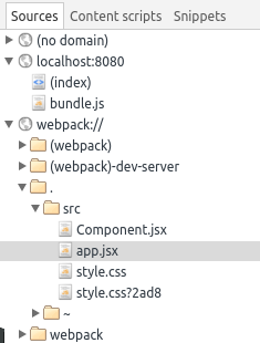 The sources when using Webpack